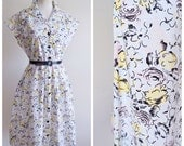 1940s style printed cotton day dress / 1970s does 40s print shirt dress - M