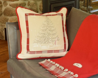 """Pillow O Christmas Tree 24"""" x 24"""" Luxurious Square cushion Winter Fir Snowman Cottage accent Red Grey plaid Off white velvet"""