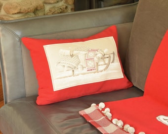 """Pillow Sleigh Ride 20"""" x 14"""" Rectangular Boudoir Cushion winter sports Chic cottage accent Red and beige"""
