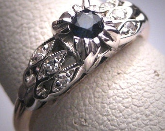 Antique Sapphire Diamond Wedding Ring Vintage Art Deco c.1920