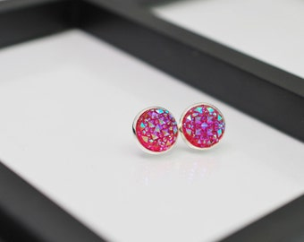 Geometric Earrings, Pink Studs, Stud Earrings, Faux Druzy Studs, Pink Stud Earrings, Faux Druzy Earrings, Hot Pink, Faux Plugs, Faux Druzy