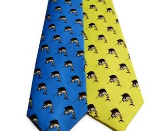 Sailfish Original Design Men's Bow Tie or Necktie on Organic Cotton, Adjustable, Southern Bow Tie, Fish Bow Tie, Preppy Bow Tie