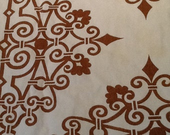 Tablecloth linen vintage brown pattern