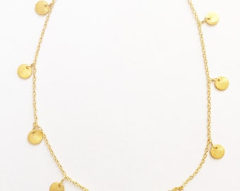 Gold Coin Necklace-layering necklace, dainty, layering jewelry