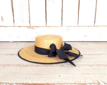 Vintage tan brown woven straw black ribbon hat/gardening farming hat/straw sun hat