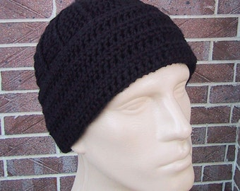Black Beanie - Mens Hat Size Large - Classic Style - Hand Crocheted - Soft Acrylic Yarn - Warm Winter Cap - Nice Gift - Ready to ship