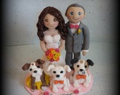 Wedding Cake Topper, Custom Cake Topper, Personalized, Polymer Clay Bride and Groom, Three Pets, Wedding/Anniversary Keepsake