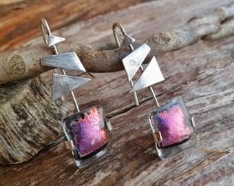 Handmade Dichroic Glass Earrings. Purple Dichroic Glass Earrings. Murano Glass. Earrings. Fused Glass Earrings. Ethnic Earrings.