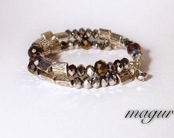 Bracelet (memory wire) - Silver Woods
