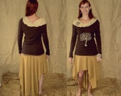 UpcYclED Tree of life leaves ruffled long sleeve size XS/S beige / brown