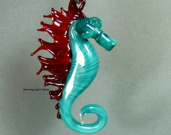 Teal and Red Glass Seahorse Ornament Sealife - Seahorse Art Glass Sculpture - Lampwork Glass