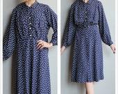 1940s Dress // Polka Dot Rayon Dress // vintage 40s dress