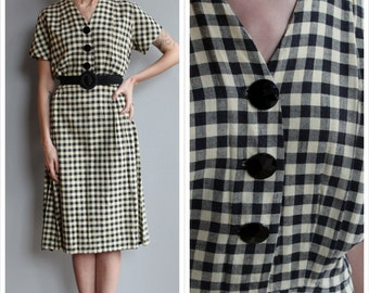 1940s Dress // Black & Ivory Plaid Dress // vintage 40s dress