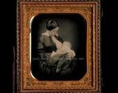 SUPER RARE Breastfeeding / Nursing Mother 19thC 1850s Daguerreotype Photo