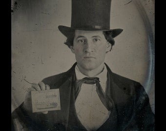 Interesting 1860s Ambrotype Man Holding Photo ~ Civil War Soldiers Muster Scene?