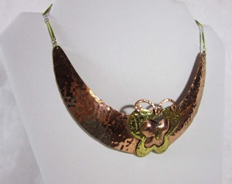 Copper butterfly necklace - handcrafted collar choker necklace - hippie, boho