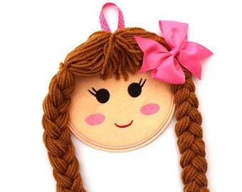 Doll Face Hair Clip Holder, Doll Face Bow Holder, Blonde, Brunette, Red, Barrette Holder, Hair Clip Organizer, Hair Bow Holder