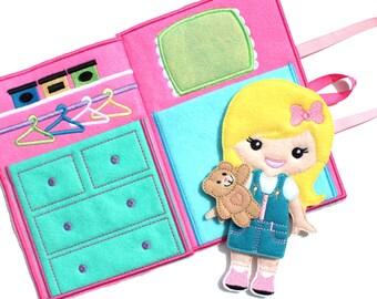 Felt Dress Up Doll, Dress Up Doll, Dress Up, Non Paper Doll, Felt Paper Doll, Travel Toy, Dollhouse, Portable Dollhouse, Busy Book, Travel