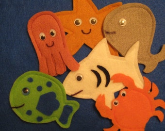 Ocean Creatures Finger Puppets shark, octopus, whale, fish, starfish, crab