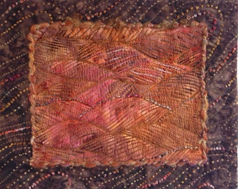 Fiber Wall Art, Small Mounted Art Quilt, Mini Quilt, Small Batik Quilt, Embellished Art Quilt, Quiltsy Handmade