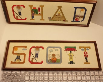 "Vintage Completed Cross Stitch Name Framed Wall Hanging  'SCOTT'   7 1/2"" x 22"""