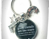 Good Friends Are Like Stars. You Don't Always See Them, But You Know They're Always There!' Glass Tile Key Ring With Initial Charm