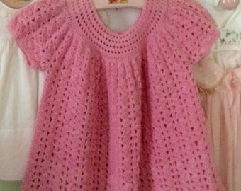Crocheted baby dress, pink, portrait dress, MidCentury, toddler dress, Easter