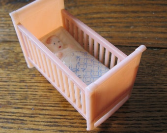 "Sweet Renwal Pink Rock-a-Bye Cradle with Baby - Plastic Dollhouse Furniture - 3/4"" Scale"