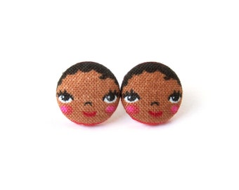 Brown skin matryoshka earrings - cute fabric earrings - button earrings - tiny doll african american - girl stud earrings - present for her