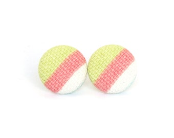 Striped fabric earrings - bright button earrings - tiny stud earrings - lime white pink
