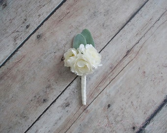 Peony and Lamb's Ear Wedding Boutonniere - Silk Wedding Boutonniere