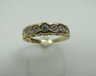 Antique Engagement Ring Wedding Band. 14K Gold Diamond Eternity Ring. Art Deco Stacking Diamond Ring. 7 Diamonds. Art Deco Jewelry Size 4