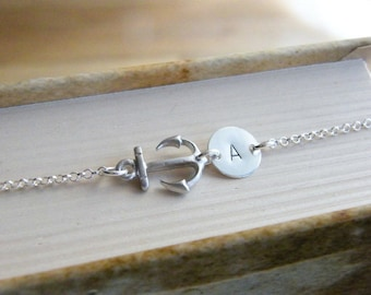 SALE, Bridesmaid gift, Personalized Necklace, Monogram Necklace, Sideways Anchor Necklace, Sterling Silver Anchor Necklace, Beach Necklace
