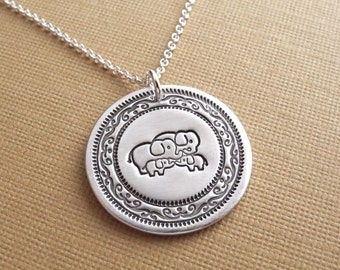 Elephant Family Necklace, Mom, Dad, Two Babies, Two Moms, Two Dads, New Family, Fine Silver, Sterling Silver Chain, Made To Order