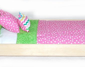 Single Doll Bed - Cotton Candy American Made Girl Doll Bed - Fits AG Doll and 18 inch dolls