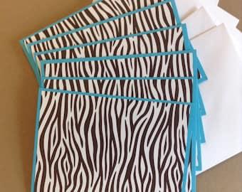 Zebra Stripe Cards, Zebra Cards, Striped Cards, Blue Striped Cards, Thank You Cards, Birthday Cards, 6 Cards and Envelopes