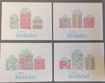 Happy Birthday Cards, Birthday Card Set, Set of 4 Birthday Cards with envelopes, Generic Birthday Card, Birthday Card Set