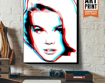 1960's Pop Art, Canvas Print, Mid Century Modern Decor, Sexy, bachelor pad art, Poster size, Large Wall Art, Blue and Red art