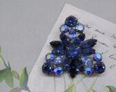 REGENCY Two Tone Blue Trefoil Rhinestone Brooch