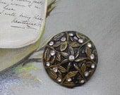 Large Dome-Shaped Metal Button w/ Rhinestones & Openwork Leaf Design