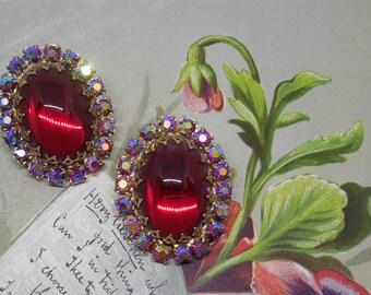 Juliana RED Cabochon & Rhinestone Clip On Earrings    MCV4