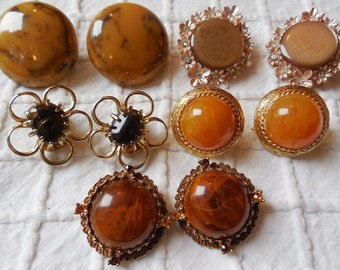 5 pr Amber Brown Autumn Tone  Clip On Earrings