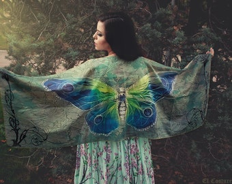 Butterfly scarf wings fairy bohemian blue and green dancing foulard