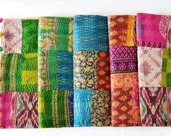 Bright Vintage Sari Kantha Patchwork Table Runner with Pom Poms, Dining and Entertaining, Kitchen and Housewares