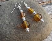 Amber Earrings Silver and Yellow Beads Handmade Antique, Honey, Dangle Earrings, Long Earrings, Silver Earrings, Yelllow Jewelry, Gifts