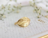 Gift For Women, Leaf Gold Ring,  Statement Gold Ring, Unique Leaf Gold Ring, Dainty Ring, Bridesmaid Jewelry, Bridal Ring