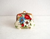 Christmas sale!  Victorian floral bouquet tiny coin purse - shabby chic, elegant. Handmade in Japan. Ready to ship.