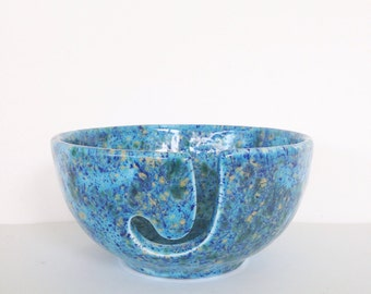 Ceramic Yarn Bowl - Pottery Knitting Yarn Holder - Blue Green Gold