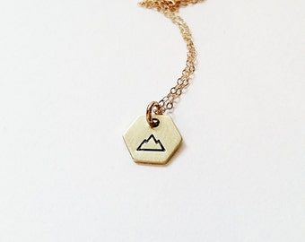 Mountain Necklace // 14k Gold Necklace // Inspirational Jewelry // Power, Strength // Climber, Mountain // Hexagon Necklace