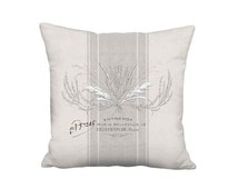 Country Brambles French Grey Grain Sack Style Linen Cotton Pillow Cover - 12x 14x 16x 18x 20x 22x 24x 26x 28x Inch French Country Pillow